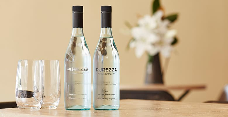 Purezza bottles in a restaurant
